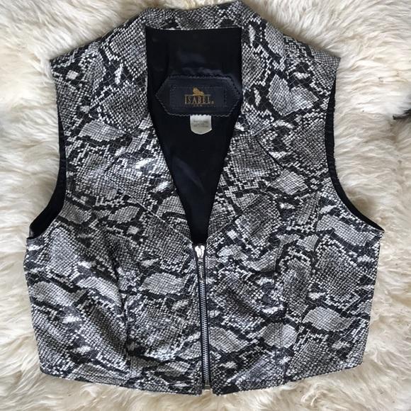 Vintage Jackets & Blazers - VTG Leather Python Snake Print Zip Up Vest Biker